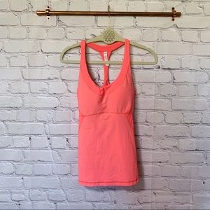Lucy pink racerback built in bra workout top #69